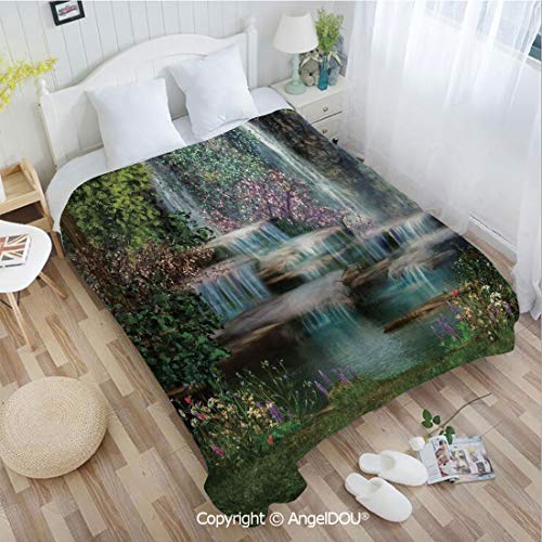 AngelDOU Portable Car Air Conditioner Blanket W72 xL78 Waterfalls Flowers and Trees Magical Landscape for Home Couch Outdoor Travel.