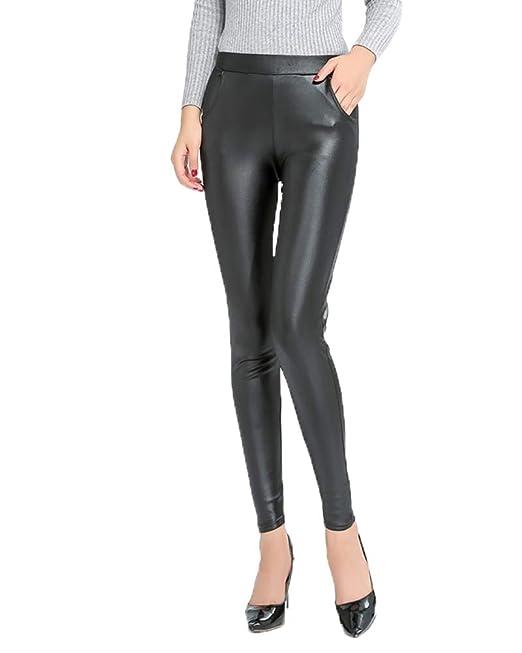 cd0dc9a5a2 Pantaloni in Similpelle Vita Alta Pu Leggings Jeggings Skinny da ...