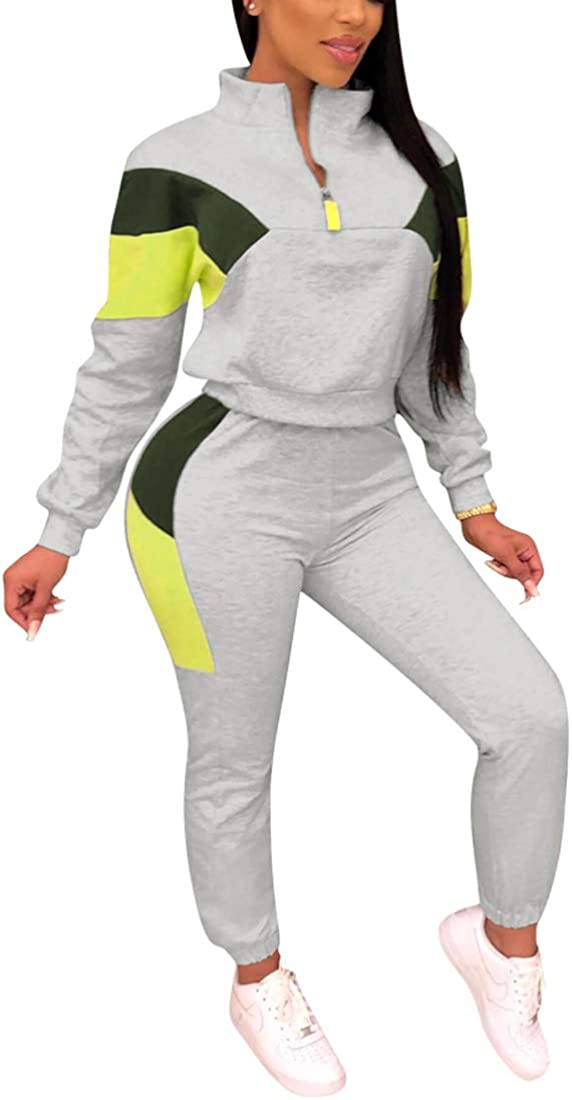 Nimsruc Womens 2 Piece Tracksuit Long Sleeve Casual Patchwork Pants Set