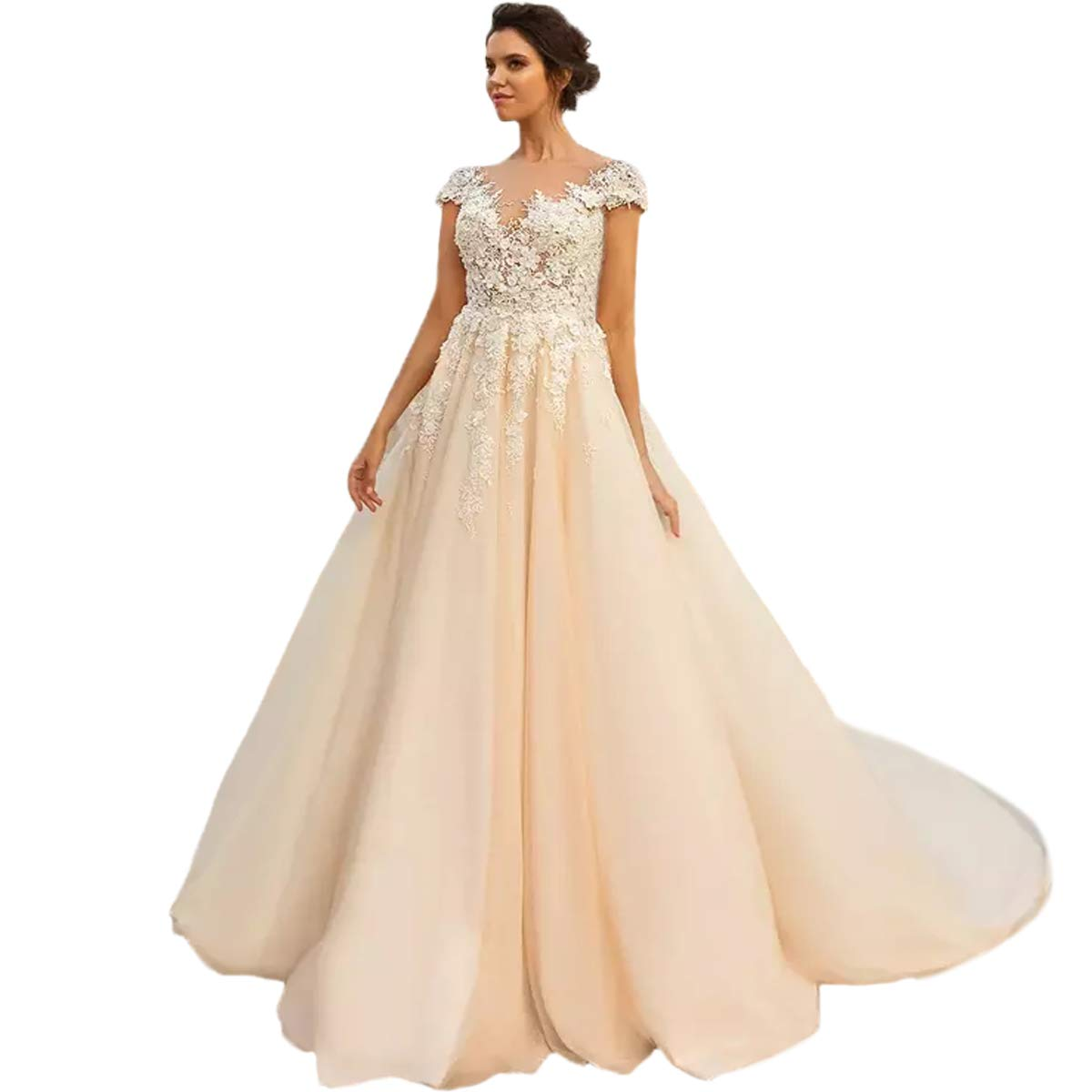Dimei Sweetheart Lace Short Sleeve Ball Gown Wedding Dresses Sheer