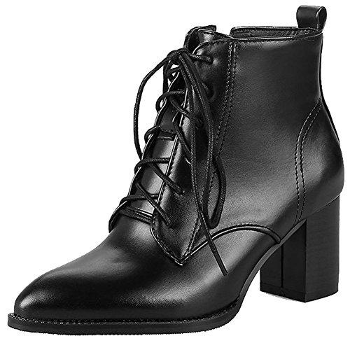 Easemax Dames Trendy Puntschoen Middel Dikke Hak Veter Hoge Laarzen Zwart