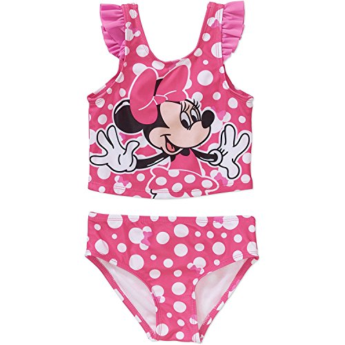Disney Minnie Mouse Little Girls Tankini 2 Piece Swimsuit Swimwear 4T (2 Piece Disney Minnie Mouse)