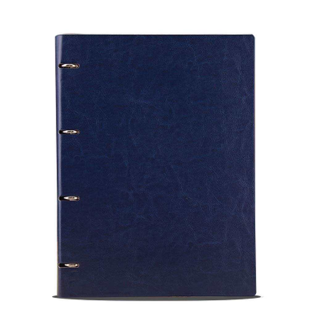 FS A4 Ring Binder, Refillable Business Ring Binder Cover Notebook 80 Sheets of Regular Filling Paper, Suitable for All People Over The Age of Three (Color : Dark Blue A4)