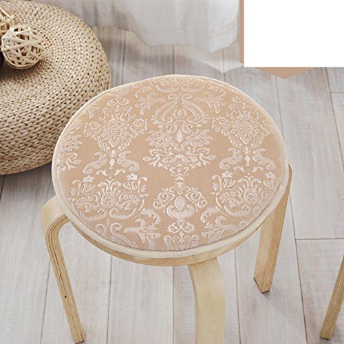 OPHGTJTNGNGMJG Four Seasons Plush seat Cushion,Small Round Stool Cover European Round Cushion Single Round Stool Chair Cushioning Skid pad-D diameter35cm(14inch) ()