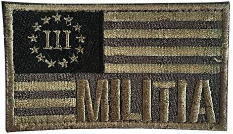 Bandera Americana Patch/Tres Percenter Milicia Tactical moral parche de Velcro por Backwoods Barnaby (2 x 3), Verde Oliva (Multicam): Amazon.es: Deportes y aire libre