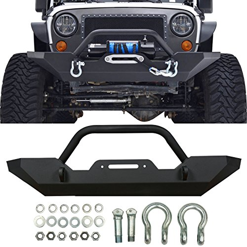 Gevog 1pc Front Rock Crawler Bumper w/ Winch Plate+D-Ring for 07-18 Jeep Wrangler JK Textured Black