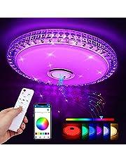 LED taklampa, Zorara taklampa med fjärrkontroll Bluetooth-högtalare, RGB färgförändring vardagsrumslampa dimbar app kontroll barnrum lampa 2700–6500 K IP44 för vardagsrum barnrum