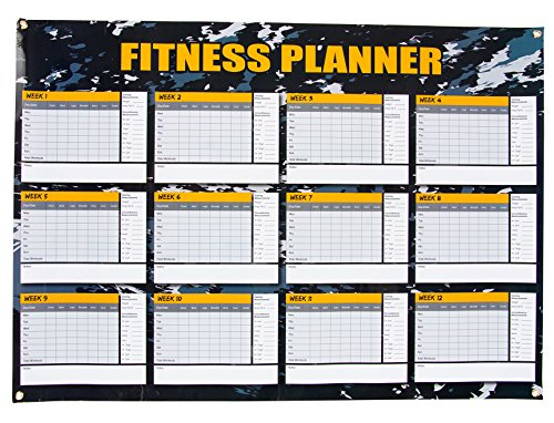 Dry Erase Weekly Planner - 12 Weeks Fitness Planner for Workout Exercise Log, Weight Loss Program, Bodybuilding, Cross-Fit, and Gym Training Progress Tracking, 24 x 17 Inches