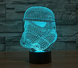 Clone troops Star Wars character Light Colorful 3D stereoscopic visual LED light USB table lamp TUOFENG night light touch pad switch,and produces unique lighting effects and 3D visualization - Amazing Optical Illusion