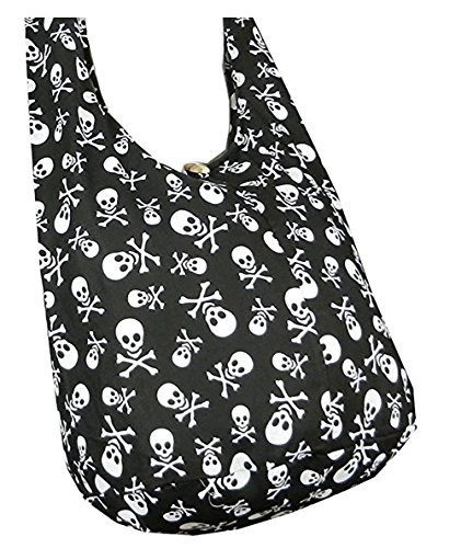 BTP! Skull Punk Rock Hippie Hobo Thai Cotton Sling Crossbody Bag Messenger Purse Small (Black)