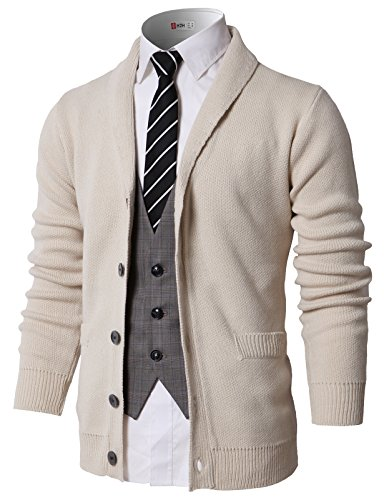H2H Mens Long Sleeve Shawl Collar Knitted Slim Fit Button Cardigan Sweaters Beige US XL/Asia XL (KMOCAL0175)