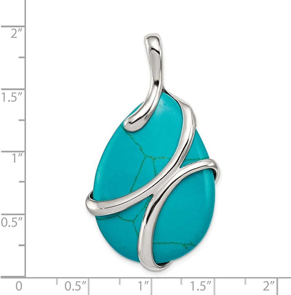 FB Jewels Solid 925 Sterling Silver Polished Synthetic Turquoise Pendant