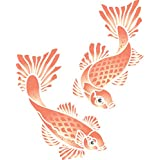 Stencils for Walls - Koi Stencil - 6 x 7.5 inch (XS) - Reusable Carp Fish Animal Pond Water Stencils for Painting - Use on Walls, Floors, Fabrics, Glass, Wood, and More…