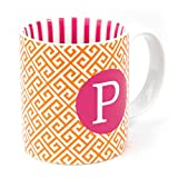 Orange Pink Letter P Greek Key 12 Oz Cof