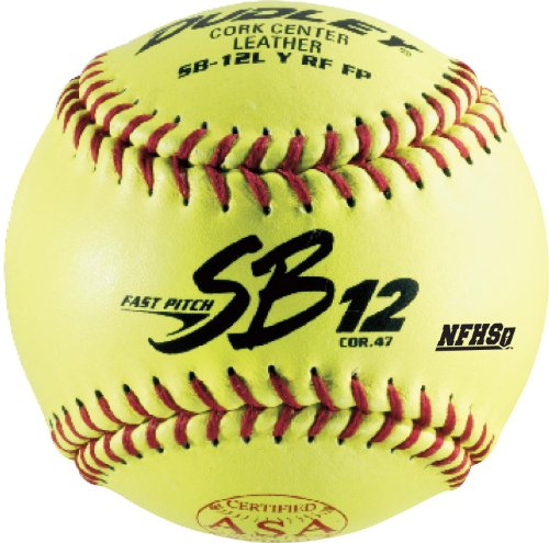 Dudley SB12L Y RF FP ASA/NFHS Leather Cover, Red Stitch, .47/375 by Spalding