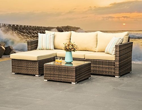 Rattan Sectional (Outdoor Furniture Wicker Patio Sectional Sofa Set - 3 Piece All weather PE Rattan Deep Seating Corner Sofa, Beige Water Resistant Cushions, 2 Throw Pillows (Brown))