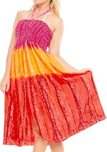 LA LEELA Beachwear Licol Cou midi Tube de Maxi Couvrir Robe de Maillots de Bain Maillot de Bain Courte Jupe Top Rouge_d650