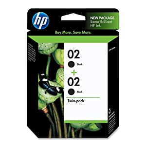 HP 02 Black Original Ink Cartridges, 2 pack (C9500FN)