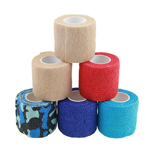 AUPCON Self Adhesive Bandage Vet Tape Cohesive Bandages Bulk Self Adherent Wrap Non-Woven for Pets Animals & Ankle Sprains & Swelling Supply, FDA Approved 2 Inches x 5 Yards