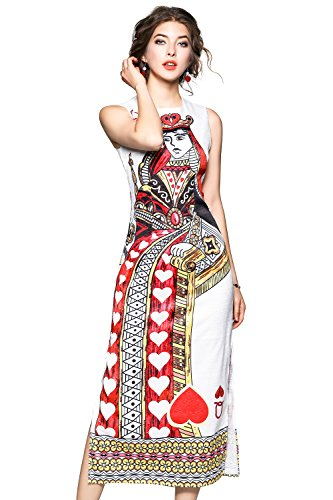 Queen Of Hearts Clothes (LAI MENG FIVE CATS Women's Summer Sleeveless The Queen of Hearts Print Party Long Midi Dress)
