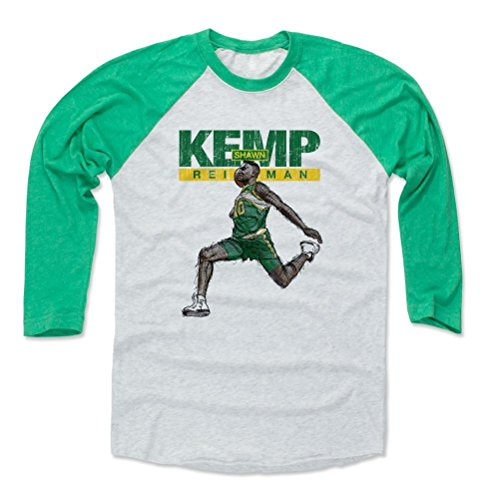 - 500 LEVEL Shawn Kemp Baseball Shirt XX-Large Green/Ash - Seattle Basketball Fan Apparel - Shawn Kemp Fly Name G