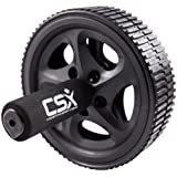 CSX Ab Roller Wheel with Extra Thick Knee Pad Mat and Comfort Foam Handles, Black - Dual, Double Pro Abdominal Exercise Wheel - Best Fitness Workout for Abs