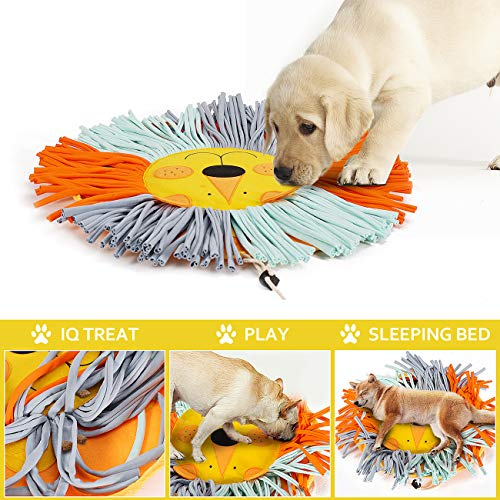 coonoe Pet Snuffle Mat for Dog Cat Feeding, Durable Interactive Pet Toys Encourages Natural Foraging Skills, Cotton Fabric Strips are Healthy for Pets, 21