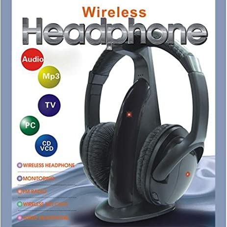 Constructan(TM)Multifunction 5 in 1 HiFi Wireless Headphone Earphone Headset Wireless Monitor FM