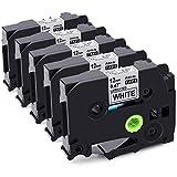 Aken Ptouch TZ Tape, 1/2 inch Label Maker Tape TZe-231 TZe 231 for Brother P Touch PT-D210 PTH110, Standard Laminated Black on White, 26.2 Feet, 5-Pack
