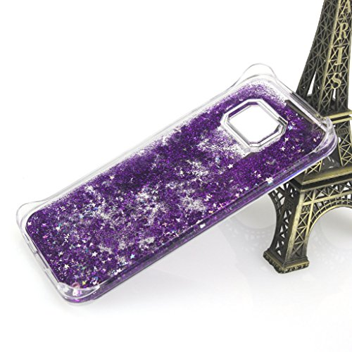AENMIL Samsung Galaxy S6 edge Quicksand Cover 3D Bling Liquid circumstance for Samsung S6 edgeFlowing Liquid Floating Quicksand Sparkle Star Glitter Hard circumstance for Samsung Galaxy S6 edge G9250 Purple Cases