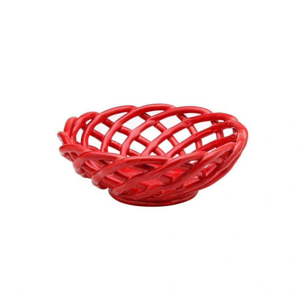Casafina Red Large Oval Ceramic Bread Basket