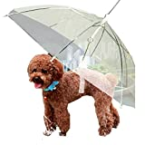 Transparent Umbrella with Built-in Leash Pet Dog Puppy Dry Comfortable In Rain