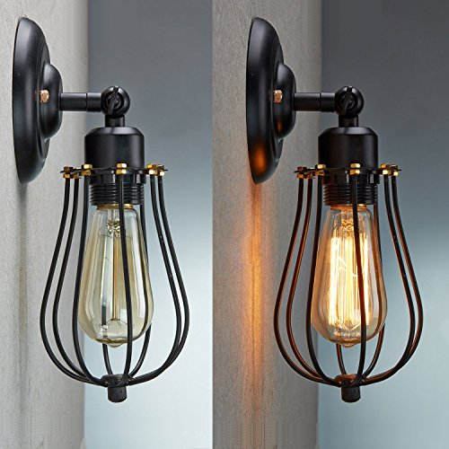 Wire Cage Wall Sconce, CMYK LED Dimmable Metal Industrial Oil Rubbed Bronze Wall Light Shade Vintage Style Edison Mini Antique Fixture For Headboard Bedroom Garage Porch Mirror