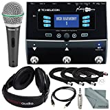 TC-Helicon Play Acoustic Vocal and Acoustic Guitar Effect Processor Pedal and Deluxe Accessory Bundle w/ Samson Q6 Mic+ Stereo Headphones + Adapter+ Fibertique Cloth + More