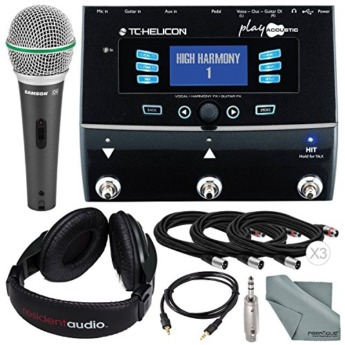 (TC-Helicon Play Acoustic Vocal and Acoustic Guitar Effect Processor Pedal and Deluxe Accessory Bundle w/Samson Q6 Mic+ Stereo Headphones + Adapter+ Fibertique Cloth + More)