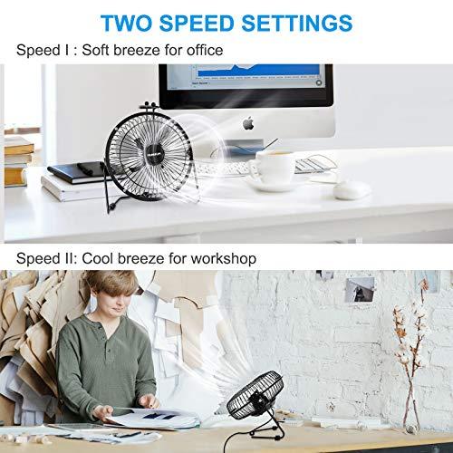 NUMIFUN 6-Inch Desk Fan Small Quiet Table Fan USB Powered Mini High Velocity Personal Fan for Desk Office Desktop Bedroom, Metal Design, 2 Speed, 360° Tilt Angel