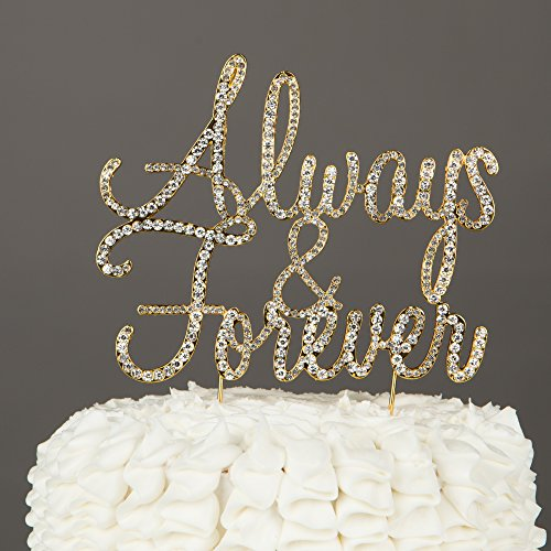 Romantic wedding reception decorations amazon ella celebration always and forever wedding cake topper gold rhinestone romantic decoration always forever gold junglespirit Gallery