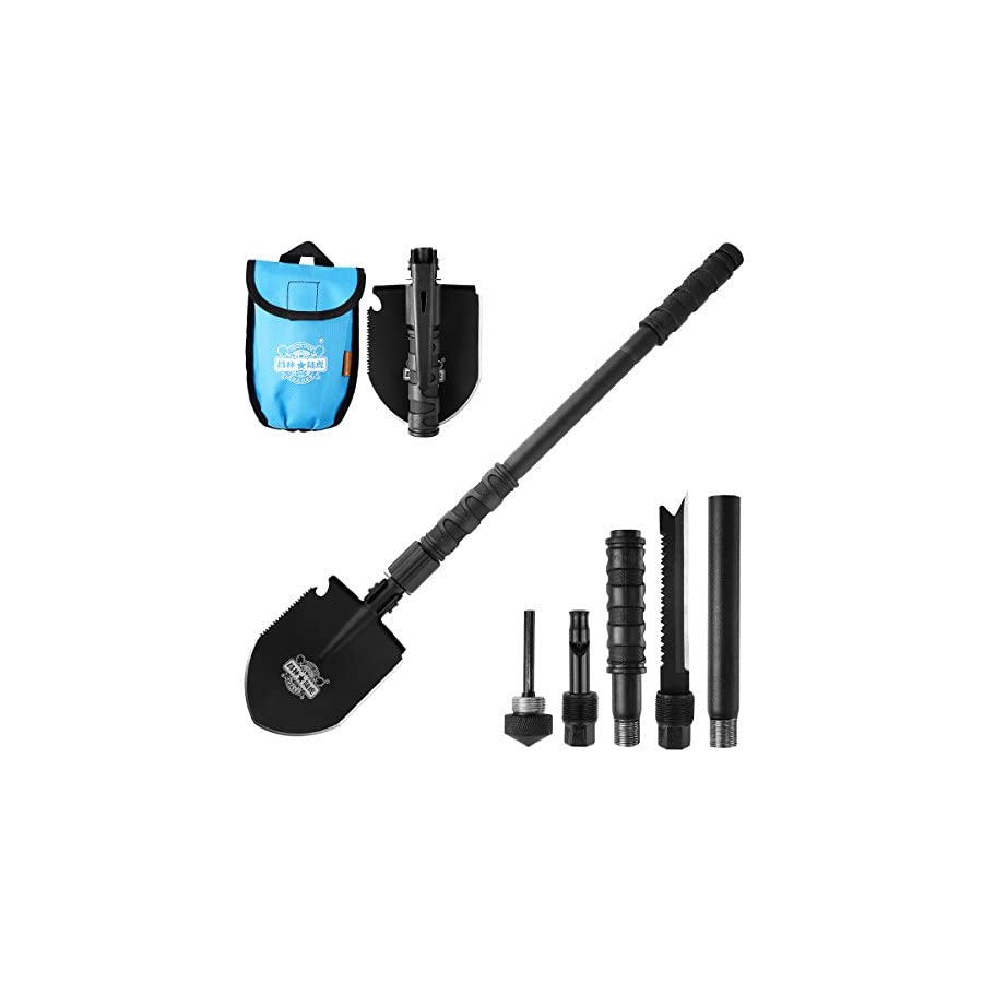 Entrenching Tool Shovel, CHINLIN Car Emergency Hammer Kit Portable Heavy Duty Survival Gear Multi function Folding Shovel for Camping Backpacking Hiking