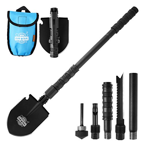 Entrenching Tool, CHINLIN Emergency Hammer Kit, Fire Stater, Portable Heavy Duty Survival Gear Multi-function Folding Shovel for Camping Backpacking Hiking Survival (Blue Bag with Alloy Steel)