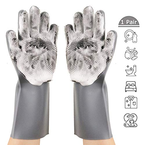 - Magic Silicone Dishwashing Gloves,Reusable Silicone Brush Scrubber Gloves with Long Bristles,Heat Resistant Great for Cleaning Dishwashing,Kitchen and Bathroom(Upgraded Gray)
