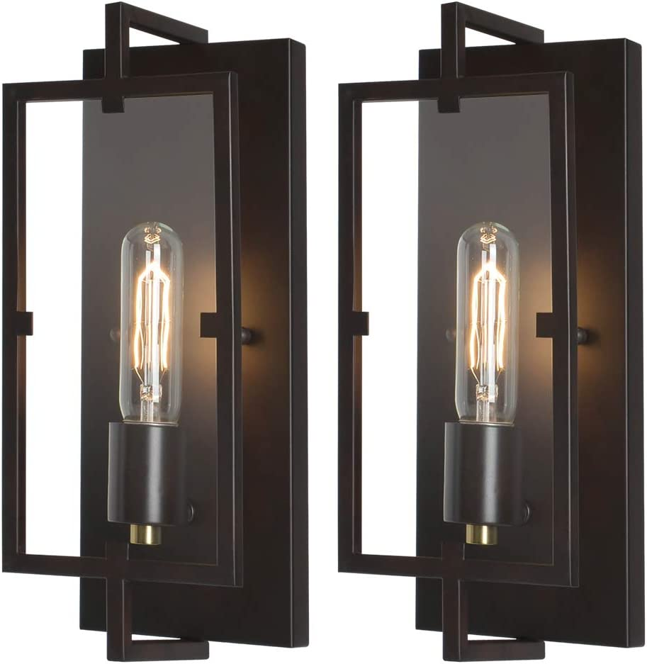 Rustic Vintage Bronze Wall Sconce Light Fixtures Set of 2,Oil Rubbed Bronze/Antique Brass Finish,Industrial Fixture Suitable for Bedroom Living Room Hallway,E26 Base,Bulb Included