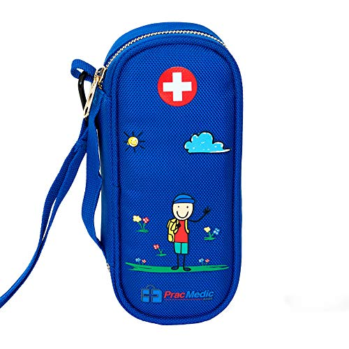 (PracMedic EPIPEN Carrying Case for Kids- Holds 2 Epi Pens or Auvi-Q, Asthma Inhaler, Generic Benadryl Small, Nasal Spray, Eye Drops, Medicine, Vials, Syringes, Ice Pack- Sold Empty (Blue))