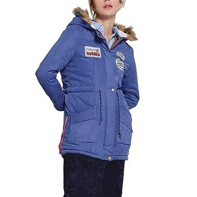 dfc1e057eb081b Gepolsterte Daunenjacke Blau mit Fellkapuze Wollmantel Bomber Jacke  Damen