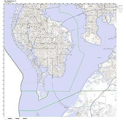 Saint Petersburg Fl Zip Code Map.Amazon Com St Petersburg Fl Zip Code Map Laminated Home Kitchen