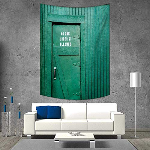 smallbeefly Teal Tapestry Wall Tapestry Monochrome Vintage Wooden Local Irish Pub Rustic Door with Warning Phrase Culture Photo Art Wall Decor 60W x 91L INCH Teal