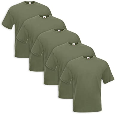 Set 5 T Shirt Fruit Of The Loom (5 Pezzi Verde Militare L 5)