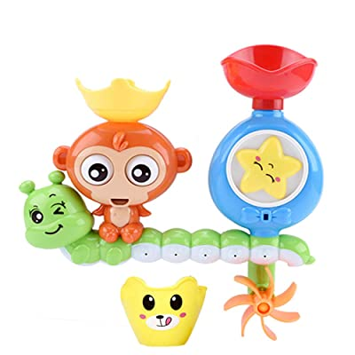 WE&ZHE Baby Bath Toy,Best Bathtime Fun Toys with Suction Cups,Waterfall Fill Spin and Flow Water Spray Girl Boy Bathroom Toys: Home & Kitchen
