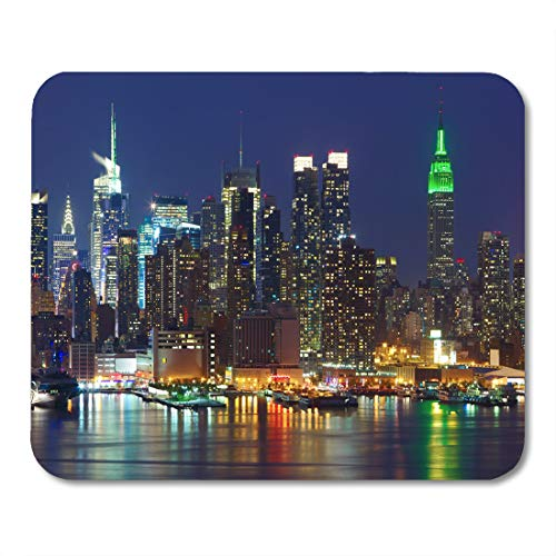 Emvency Mouse Pads Manhattan New York City Midtown Skyline at Night Over Mouse Pad for notebooks, Desktop Computers mats 9.5