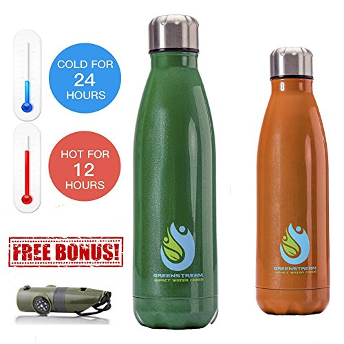 Stainless Steel Double Wall Insulated Metal Water Bottle Bundled with Multifunctional Hiking Accessory - Ideal Christmas and New Year Present Pack