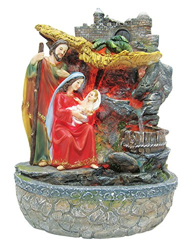 16 Inch Holy Family with Light and Water Fountain Garden Deco by Love's Gift